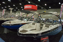 Boat on display at the Los Angeles Boat Show on February 7, 2014 Royalty Free Stock Images