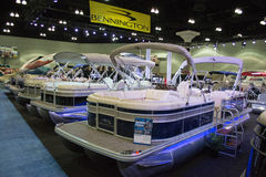 Boat on display at the Los Angeles Boat Show on February 7, 2014 Stock Photo