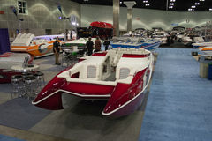Boat on display at the Los Angeles Boat Show on February 7, 2014 Royalty Free Stock Photos