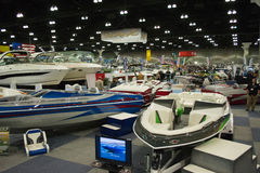 Boat on display at the Los Angeles Boat Show on February 7, 2014 Stock Images