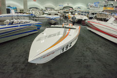 Boat on display at the Los Angeles Boat Show on February 7, 2014 Stock Image