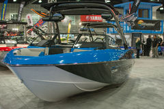 Boat on display at the Los Angeles Boat Show on February 7, 2014 Royalty Free Stock Image