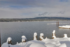 Boat doc winter mountain lake McCall Idaho Royalty Free Stock Photo