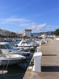 Boat dock. Leisure boats docked at a marina (Costa Brava, Spain Royalty Free Stock Photography