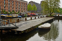Boat dock on Amsterdam canal Royalty Free Stock Image