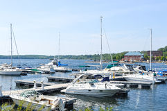 Boat at a dock in Burlington, Vermont, USA Stock Photo