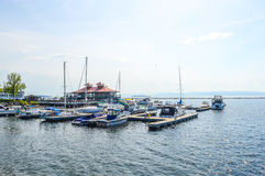 Boat at a dock in Burlington, Vermont, USA Stock Image