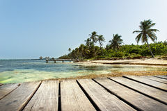 Boat Dock in the Caribbean Sea Stock Photo