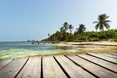 Boat Dock in the Caribbean Sea Stock Photo