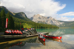 Boat dock emerald lake canada royalty free stock photo
