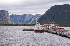 Boat dock in a fjord Stock Image
