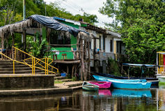 Boat Dock in Frio River Royalty Free Stock Image