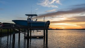 Boat On a Dock in an Inlet stock photography