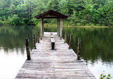 Boat dock on lake. A rustic boat dock on a lake surrounded by evergreens Royalty Free Stock Photo