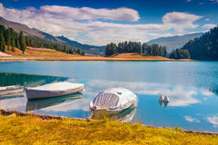 Boat dock on the lake Champfer lake in Swiss Alps. Stock Image