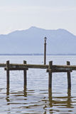 Boat dock on Lake Chiemsee Royalty Free Stock Images