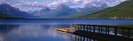 Boat dock at Lake McDonald Royalty Free Stock Photo