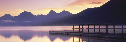 Boat dock at Lake McDonald Stock Photo