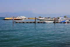 Boat dock on a large lake Royalty Free Stock Photos