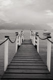 Boat dock in Lugano. Black and white Royalty Free Stock Photo
