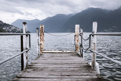 Boat dock in Lugano Royalty Free Stock Photography