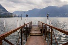 Boat dock in Lugano Stock Photo