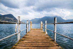 Boat dock in Lugano. Royalty Free Stock Image