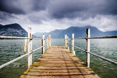 Boat dock in Lugano Royalty Free Stock Photos