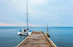 Boat at a dock. Royalty Free Stock Photo