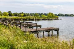 Boat Dock at Mount Trashmore Park in Virginia Beach. The boat dock at Mount Trashmore Park, a city park in Virginia Beach, Virginia created on the site of a stock image