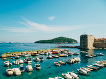The boat dock near the old city of Dubrovnik, Croatia. The harbo Stock Image