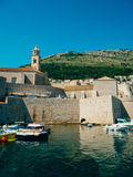 The boat dock near the old city of Dubrovnik, Croatia. The harbo Stock Photos