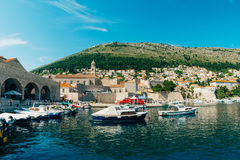 The boat dock near the old city of Dubrovnik, Croatia. The harbo Stock Photo