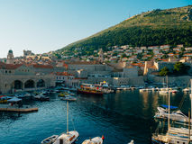 The boat dock near the old city of Dubrovnik, Croatia. The harbo Royalty Free Stock Images