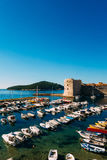 The boat dock near the old city of Dubrovnik, Croatia. The harbo Royalty Free Stock Photography