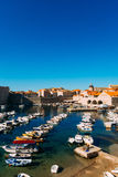 The boat dock near the old city of Dubrovnik, Croatia. The harbo Stock Photography
