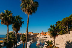 The boat dock near the old city of Dubrovnik, Croatia. The harbo Royalty Free Stock Photos