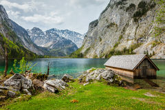 Boat dock on Obersee lake. Bavaria, Germany Royalty Free Stock Images