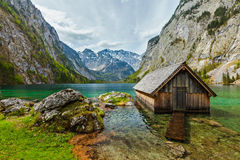 Boat dock on Obersee lake. Bavaria, Germany Stock Images