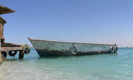 Boat on dock of Paradise island of Red Sea royalty free stock images