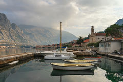 Boat dock in Prcanj town, Montenegro Stock Image
