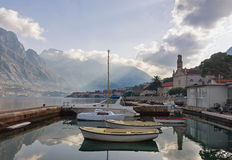 Boat dock in Prcanj town. Montenegro Royalty Free Stock Photo