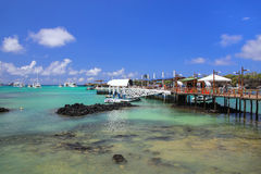 Boat dock at Puerto Ayora on Santa Cruz Island, Galapagos Nation Stock Images