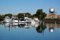 Boat Dock Reflection Stock Photo