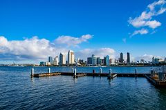 Boat Dock on the San Diego Bay. This boat dock sits empty in the early morning on San Diego Bay royalty free stock photo
