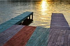 Boat Dock at Sunset Royalty Free Stock Photo