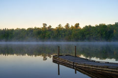 Boat dock at Toddy Pond, Maine Royalty Free Stock Images
