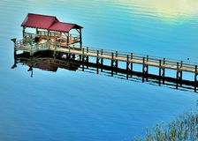 Boat Dock. Dock on the US international waterway Stock Photos