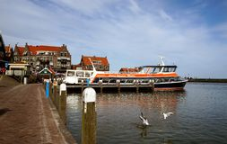 Boat dock. In Volendam Netherlands stock photography
