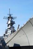 Boat is docked. Battleship docked at the marina Royalty Free Stock Photography